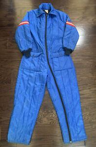 Vintage Walls Blizzard Pruf Snow Snowmobile Ski Suit Blue Stripe Mens Sz Large