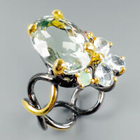 Handmade18ct+ Natural Green Amethyst 925 Sterling Silver Ring Size 8/R114635
