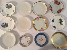 Lot of 12 Gold Floral Tea Cup Saucers - Great for Crafts, Mosaics, Tiles, Decor