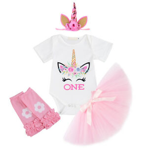 Unicorn Baby Girl 1st Birthday Outfit Romper Tutu Skirt Headband Leg Warmers Set