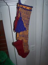 Beautiful Hand Knit Christmas Stocking - Vintage Pattern from the 60's