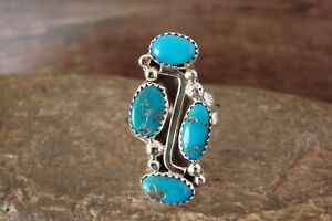 Navajo Indian Jewelry Sterling Silver Turquoise Ring Size 9 - Begay