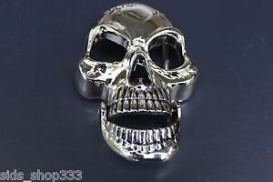 "♈ SKULL Movable Jaw!  ♈ shiny Silver Color  3.5""-4""x 2.5"" Skeleton Belt Buckle"