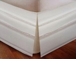 "Top Care Cream/Light Beige Full Hemstitch Bedskirt 14"" Drop Pleat Corners NWT"