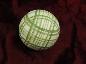 "Antique Victorian Scottish English Ceramic Carpet Ball Green Plaid Bowl 2.94"" /c"