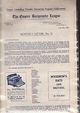 THE EMPIRE RECIPROCITY LEAGUE MONTHLY NEWSLETTER vintage 1930 Australia cz