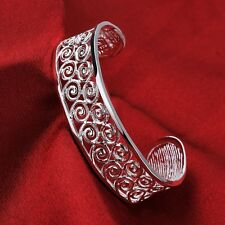 925 Hallmarked Sterling Silver Layered filigree Solid Open Bracelet Bangle BN253