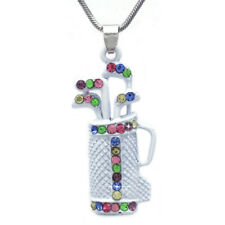 White Golf Club Set Bag Sporting Goods Necklace Sports Jewelry Gift for Golfer