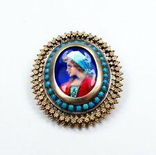 ANTIQUE, 18K GOLD, TURQUOISE, HAND PAINTED PORTRAIT PIN, PENDANT BROOCH