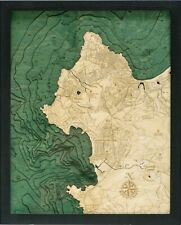 CARMEL/MONTEREY, CA 16 x 20 Laser-Cut 3-Dim Wood Chart/Lake Art Map