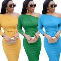 Fashion Women Oblique Shoulder Solid Color Bodycon Cocktail Party Evening Dress