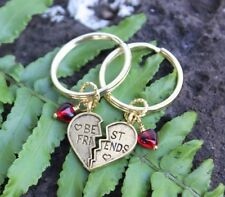 Best Friends Gold Keychains- split heart and red glass hearts- two key rings-BFF