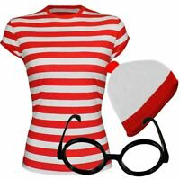 Details about  Ladies Women Wheres Wally Red & White Strips T-Shirt Book Day