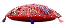 Indian Round Pillow Case Kantha Cushion Covers Sofa Chair Use Decor 40x40cm