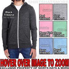 Mens Full Zip Lightweight Hooded Shirt Triblend Hoodie Light Sweatshirt XS-2XL
