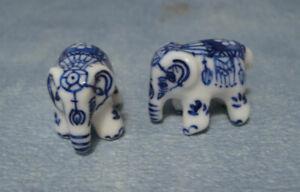 Pair of Ornamental Pot Elephants , Dolls House Miniature 1:12th Scale