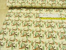 Jersey fox, deer and fir beige Cotton Jersey Knit Fabric 0.54 yd (0.5m)