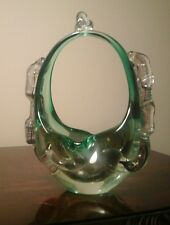 VINTAGE RETRO MURANO ART GLASS GREEN & CLEAR GLASS FANCY  BASKET ITALY