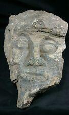 "Petrified Wood Carving - Island of Sumatra.  Indonesian warrior face 11"" long"