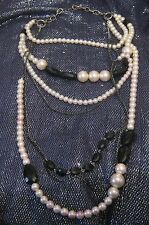 Very pretty multi-string strand chain beaded necklace statement style 48cm long