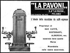 PUBBLICITA' 1933 LA PAVONI S.A.MILANO MACCHINA CAFFE' ESPRESSO BAR ALBERGO