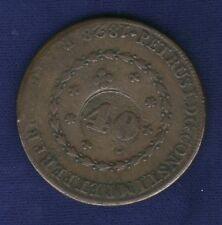 BRAZIL  PEDRO I   ND (1835)  40 REIS COPPER COIN, HOST: (1828-R 80 REIS), VF/XF