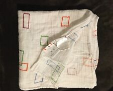 ADEN ANAIS MUSLIN COTTON SWADDLE BLANKET WHITE WITH GREEN BLUE RECTANGLES 46X46""
