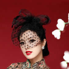 Elegant Flower Polka Dot Mesh Net Veil Feather Fascinator Hair Clip Hat Wedding.