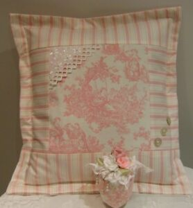 Hand M.Shabby chic Pink Romantic Toile eyelet lace,Pillow & sachet door hanging