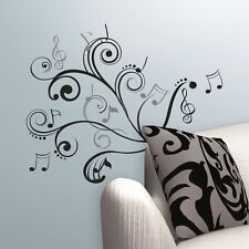 MUSICAL NOTES SCROLL WALL DECALS Music Room Stickers Musician Home Decorations