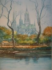 Cathédrale Notre-Dame de Bayeux estampe en héliogravure contresigné Ludo