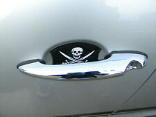 JOLLY ROGER PIRATE SKULL AUTO ACCESSORY CAR DOOR HANDLE SCRATCH GUARDS NEW 4PK