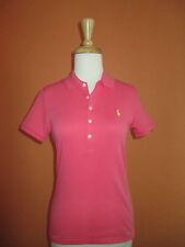 New Ralph Lauren Womens Size M Rose Pink Slim Fit Interlock Golf Polo Shirt