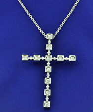 pendant 0.80 ct made in Usa 14k Solid White gold Natural Diamond Cross