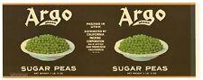 ARGO Brand, Sugar Peas California Cannery *AN ORIGINAL 1930's TIN CAN LABEL* E01