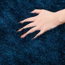 Floor Rug Dark Blue Sapphire Shaggy Shag Non Shedding Plush Carpet 120x170cm
