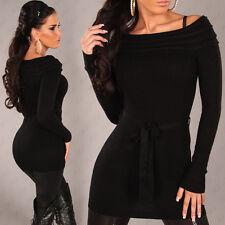 SeXy Miss Damen Carmen Long Pulli Pullover Binde Gürtel S/M 34/36 schwarz NEU