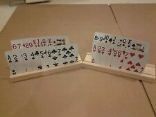 SET OF 2 HAND MADE WOODEN PLAYING CARD HOLDERS MADE FROM SELECT PINE