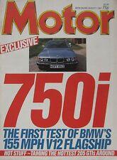Motor magazine 1/8/1987 featuring Ferrari F40, BMW road test, Peugeot 205 Gti