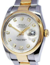 Rolex Datejust 18k Yellow Gold Steel Diamond Dial Watch Box/Papers 116203