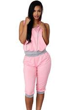 Abito Set Top pantaloni Trasparente Aperto Completo Sport Casual T-shirt Pant M
