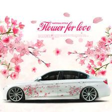 A Pair Pink Cherry Blossom Car Sticker Lovely Auto Doors Flower Decal Emblem