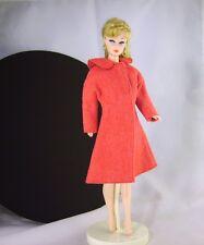 Doll Clothes Red Felt Flare Coat for Barbie Midge Fashion Dolls Handmade Clone