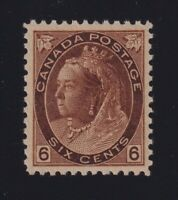 Canada Sc #80 (1898) 6c brown Queen Victoria Numeral Mint VF NH MNH