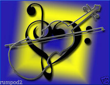 Music Poster/Print/Violin/Clef 17x22 in./Drum Set Silhouette/Musical Instruments
