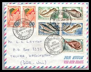 GP GOLDPATH: CONGO COVER 1961 AIR MAIL FIRST DAY COVER _CV481_P14