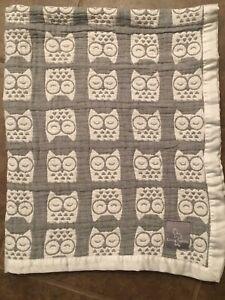 Living Textiles Baby Blanket Gray White Owls Lovey Cotton Muslin Satin Trim