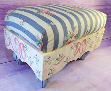 Footstool Hand Painted Signed Wood Pink Blue Ribbons Flowers Stripes Vtg Girls