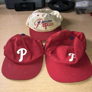 LOT of 3 Vintage Philadelphia Phillies 2 Trucker Snapback & 1 MLB Outdoor Cap Co