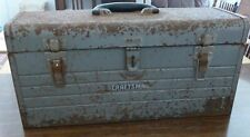 Vintage Rusted METAL CRAFTSMAN Crown Logo Gray TOOLBOX w Red TRAY 20 X 8 X 8.5